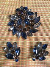 VINTAGE WEISS SIGNED AMBER & BLUE RHINESTONE BROOCH AND EARRINGS Set