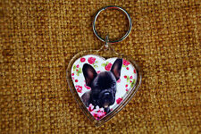 French Bulldog Keyring Dog Key Ring heart shaped Frenchie Boy Girl Valentine
