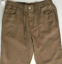 Daniel Cremieux York Pants Men Linen Brown Tan Drawstring Flat Front 34X30 NWT