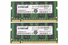 Crucial 4GB 2X 2GB PC2-6400 DDR2 800MHz 200pin SODIMM RAM Laptop Notebook Memory