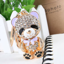 Lovely Little Bear Bowknot Rhinestone Crystal Purse Bag Key Chain Creative Gift
