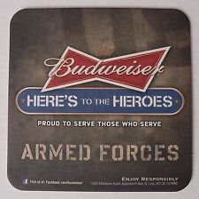 1 Budweiser Here's to the Heroes Armed Forces Brewing Beer Coaster Pub Bar Mat