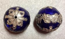 Vintage 28mm Round Cobalt Enameled Copper Bead with Silver Dragon, One (1) Bead