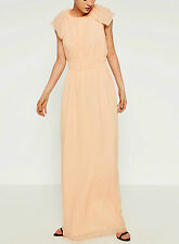 STUNNING ZARA LIGHT PEACH COLOURED LONG DRESS WITH CAPE SLEEVES SIZE M