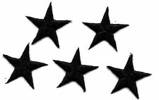 "STARS -  7/8"" BLACK STAR (5 Pc)-Iron On Embroidered Applique"