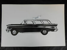 """12 By 18"""" Black & White Picture - 1957 Chevrolet Nomad artist rendering"""