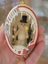 REAL Hand Carved Goose Egg Christmas Gift Collectible Ornament Frosty Snowman
