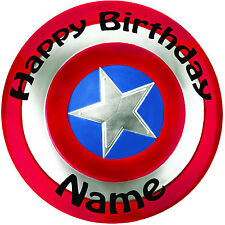 """Personalised Birthday Captain America Shield Round 8"""" Precut Icing Cake Topper"""