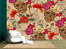 Sugar Skull Floral Cream Pink Red Wall Mural Photo Wallpaper GIANT WALL DECOR