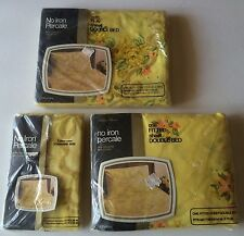 Vintage JC Penny's Percale Yellow Floral Twin Bed Sheet Set NOS