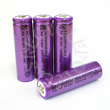 4 x AA LR6 UM3 3000mAh Ni-MH Rechargeable Battery Purple Cell 2A