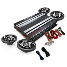 "4.0 CAR AUDIO SET AMPLIFIER AMP 4X 6.5"" SPEAKERS 2400W WITH COMPLETE CABLE SET"