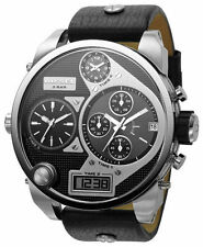 DIESEL DZ7125 MEN'S SBA OVERSIZED CHRONOGRAPH MR. DADDY BLACK LEATHER WATCH $295