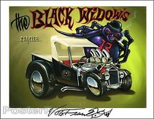 Von Franco Black Widows Spider Signed Print Lowbrow Painting Hot Rod Ed Roth