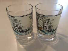 TWO ARBY'S CURRIER & IVES WINTER CHRISTMAS OLD FASHION ROCK GLASSES Collectors