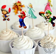 24PCS SUPER MARIO CUPCAKE TOPPERS / PARTY/ BIRTHDAY/ PRINCESS MUSHROOM LUIGI