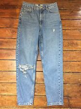 Topshop Moto  Mom Jeans Ripped Blue  Size 6 W25 Fit L30 Zk33