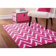 NEW Carpet Design Modern Girls Bedroom Rug ZigZag Rugs Pink and White Kids room