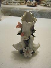 4.5 inch bud vase 2 swans with pink and purple flowers