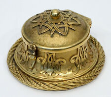 Victorian ANTIQUE Gilt Bronze ART NOUVEAU Cable STAMP MOISTENER DAMPER Inkwell