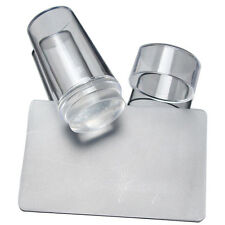 New Nail Art Clear Jelly Silicone Stamper Scraper with Cap Transparent Stamping
