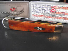 "CASE XX 4 1/8"" CHESTNUT BONE HANDLE POCKET KNIFE TRAPPER NEW COLLECTION BY CASE"