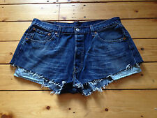LEVIS 501 RED TAB LADIES REWORKED BLUE DENIM HOTPANTS / SHORTS W34