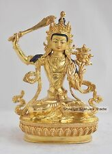 "Hand Carved Gold Face Painted 9"" Manjushri Jambiyang Gold Gilded Copper Statue"