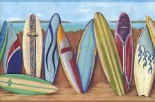 Wallpaper Border Multi Color Bright Surfboard Fun Beach Border