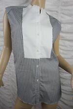 COUNTRY ROAD black white 100% cotton striped bib sleeveless blouse size S EUC
