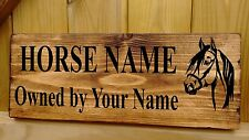 Personalised Horse / Pony Name Plate Stable Door Plaque Sign Rustic Wooden Box