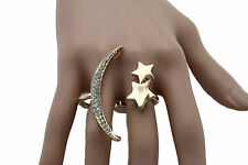 Women Ring Fashion Jewelry Gold Metal 2 Fingers big Moon Stars Crescent One Size