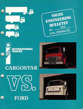 INTERNATIONAL VINTAGE CARGOSTAR COMP COMPARE TRUCK  PRODUCT BULLETIN 1976
