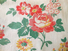 Antique French Shabby Cottage Roses Cotton Fabric ~ Strawberry Pink Red Yellow