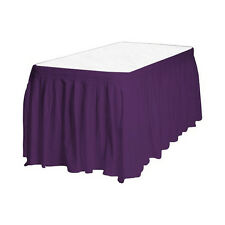 "2 Plastic Table Skirts 13' X 29"" Streches-19' - Purple"
