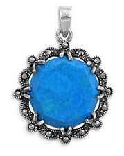 Turquoise Pendant with Marcasite Sterling Silver 925 Gemstone Jewelry Gift
