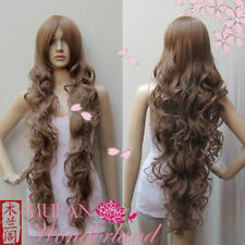 Popular Extra Long Wavy Brown Curly Cosplay Costume Wig + Hairnet