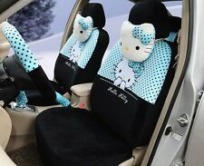 ** 18 Piece Black and Blue Polka Dot Hello Kitty Car Seat Covers **