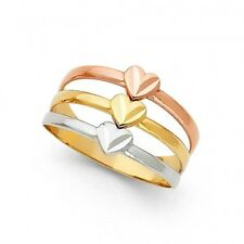 EJLR30445 - Solid 14K tricolor gold D/C Hearts ring