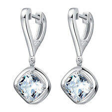 Korean Fashion women 925 Sterling Silver Swarovski Zircon Ear Clip Hoop Earrings