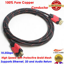 Premium High Speed HDMI Cable w/Ethernet 10FT 1080P 3D Full HD DVD Nylon Braided
