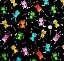 Fat Quarter Top Cat Whimsical Cats On Black 100% Cotton Quilting Fabric - Nutex