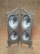 Victorian Style Metal Flower Leaf Folding Picture Frame 4 Photos