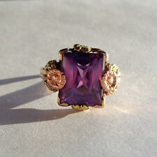 UBER RARE ANTIQUE OSTBY BARTON PURPLE SAPPHIRE 14K TRI-COLOR GOLD RING TITANIC