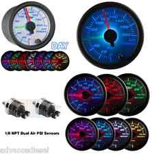 GlowShift White 7 Color Dual Needle PSI Air Pressure Gauge GS-W713-DN