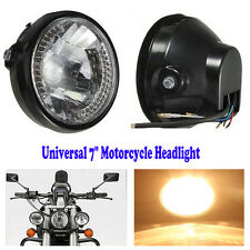 "7"" Universal Motorcycle H4 Headlight LED Turn Signal Light Black Bracket Mount"