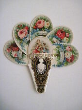 Vintage Victorian Valentine Die Cut Fan Card w/Three Angels & Many Roses *
