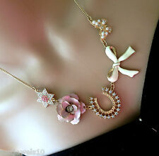 Wedding Horseshoe Rose Pearl Bride Necklace Earrings Set Mothers Wife Gift