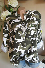 HEMD BLUSE CAMOURFLAGE ARMY MILITARY STIL OVERSIZE TUNIKA BAUMWOLLE 40 42 44