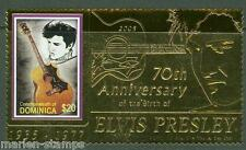 DOMINICA 70th BIRITH ANNIVERSARY OF ELVIS PRESLEY GOLD FOIL STAMP MINT NH